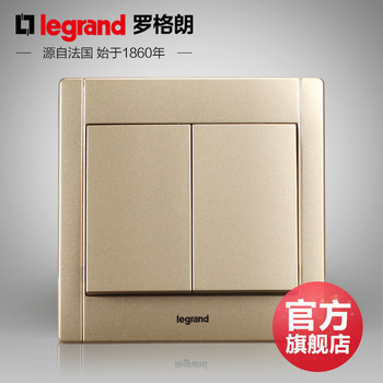 罗格朗开关 插座面板 美涵金色  二开多控中途开关  墙壁电源  86型 美涵金色