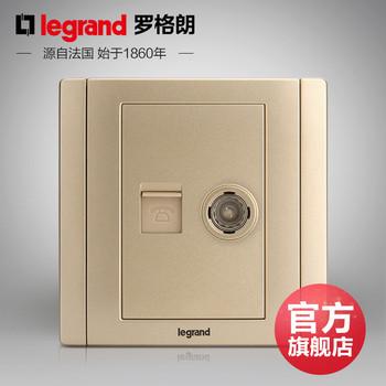罗格朗开关 插座面板 美涵金色  二位电话电视   信号电源  86型  美涵金色