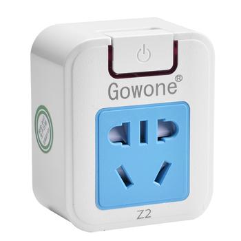 Gowone 购旺 电源功率转换器 便携旅行插座 墙面电源拓展插排 三角插头小转大带两插 10A 3孔转5孔 Z2