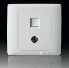 西蒙开关面板 50雅白系列 二位电视电脑插座