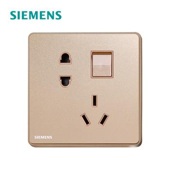 西门子开关插座面板 睿致玫瑰金系列 一开单控带五孔插座 10A