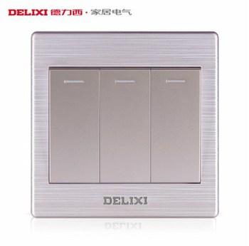 德力西电工 CD860系列 三开双控带荧光开关面板