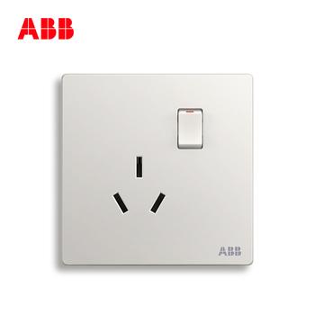 ABB开关插座 轩致无框 雅典白色 一开16A三孔带开关空调插座