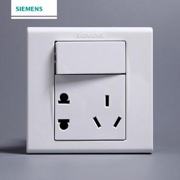 西门子开关插座面板 品宜系列 一开双控带五孔插座 10A