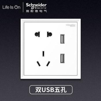 施耐德皓朗清雅白五孔带双USB插座