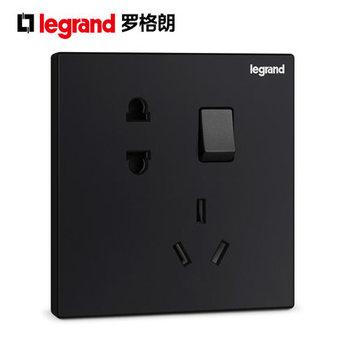 TCL罗格朗开关插座逸景碳素黑一开单控带五孔插座86型电源插座面板