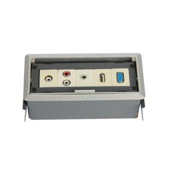 華工電氣 HZC512隱藏式桌面插座(灰色)VGA(孔)+USB+話筒+音頻