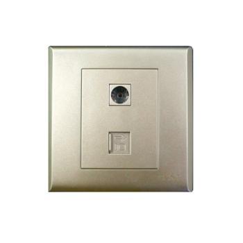 正泰(CHINT)7S系列一联电视终端插座、一联八芯数据插座淡香槟 NEW7-S21202