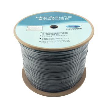 宏尚德(HONSOUND)超五类防水网线非屏蔽高速国标纯铜室外专用网线 黑色 300米/箱