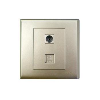 正泰(CHINT)7S系列一联电视终端插座、一联四芯电话插座淡香槟 NEW7-S20702