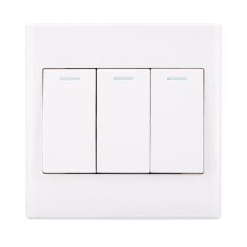 公牛(BULL)墙壁开关插座面板三开单控3开白色86型电灯开关G06K311Y