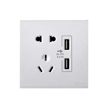 西蒙电气(SIMON)五孔插座+二位USB电源插座(白色) 72E724