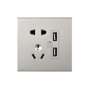 西蒙(SIMON) 五孔插座+二位USB电源插座(香槟金) 72E724-46