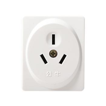 公牛(BULL)插 明装开关插座墙壁面板扁圆三孔电源插座 GN-Z2