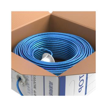 山泽(SAMZHE)超五类单屏蔽网线 FTP-100 透明蓝色 100米/箱