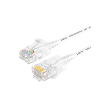 山泽(SHANZE) SZB-3010 超六类非屏蔽网络跳线UTP超细圆线网线 白色 1米