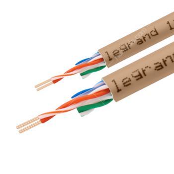 罗格朗(Legrand)超五类4对FTP单屏蔽网线 浅咖啡色 305米/箱 632713