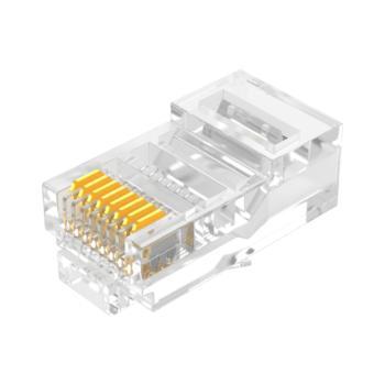 山泽 YH-5100 3U 8P8C 超五类镀金水晶头RJ45非屏蔽连接器 100个/盒