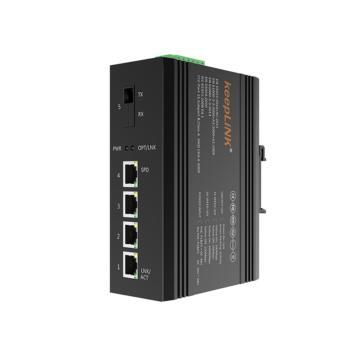 keepLINK KP-9000-65-1FX4TX-SC20A 百兆一光四电工业级交换机 A端