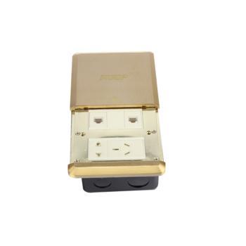 华工电气 HGD-8T铜合金平推式地面插座五孔+二位电脑