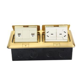 华工电气 HGD-3F铜合金方形双联弹起式地面插座二位三插多功能+电话+电脑
