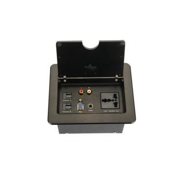 華工電氣 HZC190桌面插座(黑色)三插多功能+音頻+VGA(孔)+話