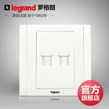 罗格朗开关 插座面板 美涵白色   二位电脑双网络  信号电源  86型  美涵白色