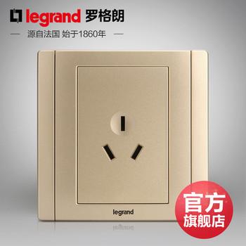 罗格朗开关 插座面板 美涵金色  三孔16A空调热水器  墙壁电源  86型  美涵金色