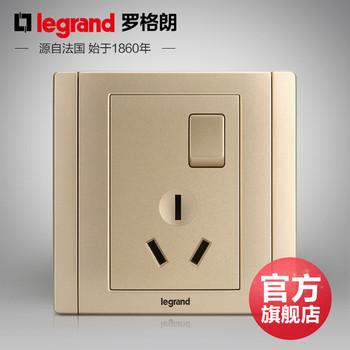 罗格朗开关 插座面板 美涵金色  三孔10A带开关   墙壁电源  86型   美涵金色
