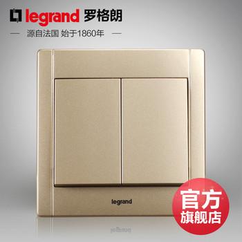 罗格朗开关 插座面板 美涵金色  二开双控  墙壁电源  86型  美涵金色