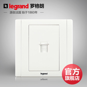 罗格朗开关 插座面板 美涵白色   一位单电脑网络  信号电源  86型   美涵白色