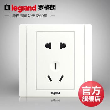 罗格朗开关 插座面板 美涵白色   二三插五孔  墙壁电源  86型   美涵白色