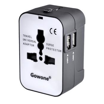Gowone 购旺 全球通用电源插座转换器 出国旅行多功能转换插头 英美澳日欧国标转多用孔 智能USB配拉链袋 GT071
