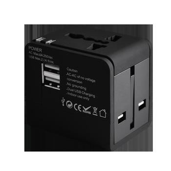 Gowone 购旺 全球通用电源插座转换器 出国旅行多功能转换插头 英美澳日欧国标转多用孔 智能USB配拉链袋 GT122